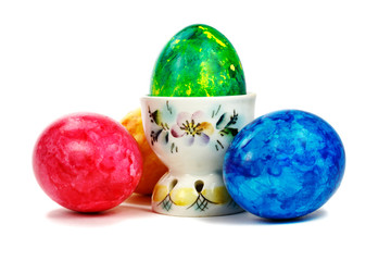 Set of Easter eggs on a white background