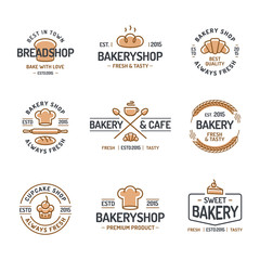 Bakery logo set consisting of icons bread, cupcake, croissant, cup of coffee, spica for corporate identity baking firm, loaf store, food market, coffee shop, cafe. Vector Illustration