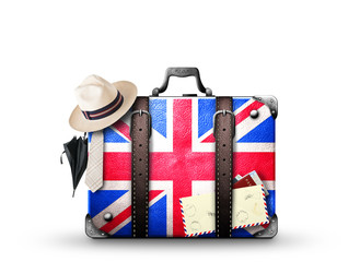 England, vintage suitcase with British flag