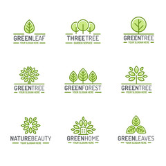 Tree and leaves logo set green color flat style for organic shop, ecology company, nature firm, natural product store, alternative medicine, green unity, garden, farming, forest. Vector Illustration