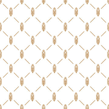 Ear seamless pattern brown color on white background for decoration natural product store, bakery market, organic shop, nature firm, ecology company, garden, farming, forest. Vector Illustration