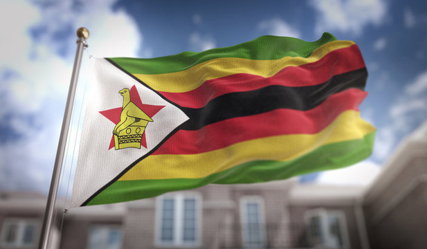 Zimbabwe Flag 3D Rendering on Blue Sky Building Background