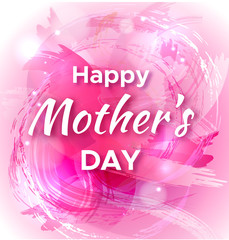 Mother's Day watercolor greeting card with colorful pink splashes and lights vector illustration