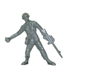 Miniature toy soldier on white background with clipping path.