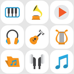 Music Flat Icons Set. Collection Of Acoustic, Tone, Shellac And Other Elements. Also Includes Symbols Such As Phonograph, Instrument, Philharmonic.