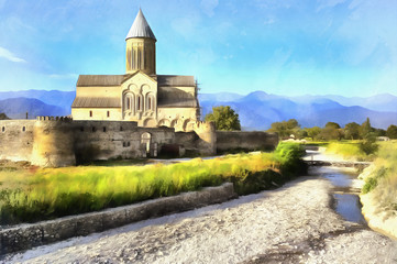 Colorful painting of Cathedral of Alaverdi Monastery