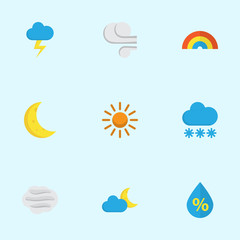 Meteorology Flat Icons Set. Collection Of Storm, Drop, Snow And Other Elements. Also Includes Symbols Such As Windy, Snow, Flash.