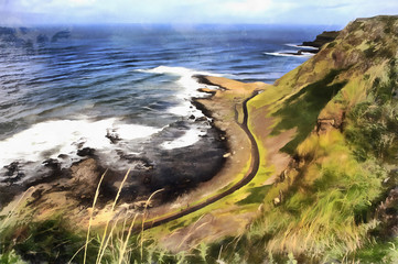 Colorful painting of Causeway Coast