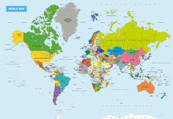 Montage in der Fensternische Weltkarte New Detailed Political World Map