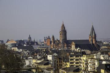 Blick auf den Mainzer Dom von der Zitadelle aus gesehen
