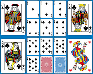 Clubs Suite Playing Cards French Style