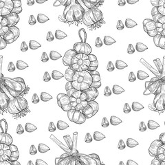 Vector hand drawn seamless pattern of garlic. Stylized black and white sketch of a bundle of garlic groves tied with ribbon