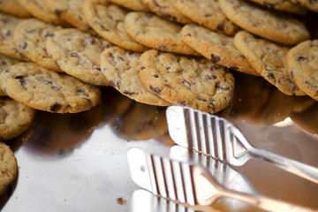 Chocolate chip cookies on serving platter