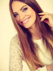 Portrait of happy, positive attractive woman
