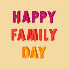 Postcard for the Family Day with bright letters