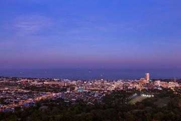 Hua Hin city from scenic point at twilight, Hua  Hin, Thailand
