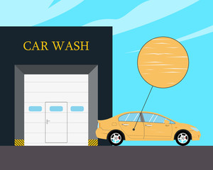 The car is badly scratched brushes after automatic cleaning. Vector illustration