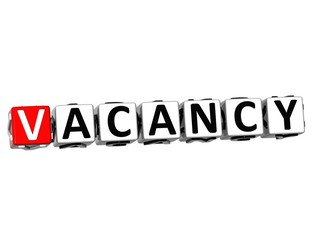 3D Vacancy block text on white background.