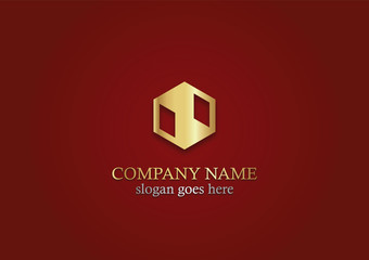 gold polygon shape business logo
