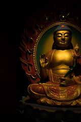 Golden Buddha Sculpture on a Dark Background