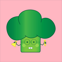Illustration funny and healthy broccoli (Brassica oleracea). Pink background. Chemist with test tubes
