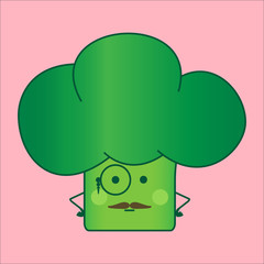 Illustration funny and healthy broccoli (Brassica oleracea). Pink background. Official broccoli with eyeglasses