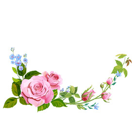 Branch curly pink rose, bouquet with blue flowers forget-me-nots, buds, green stems, leaves on white background, digital draw illustration, concept for design, vintage, vector