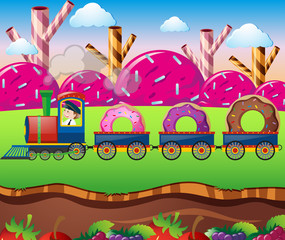 Candy land with train ride with donuts