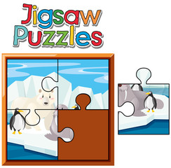 Jigsaw puzzle game with animals in Northpole