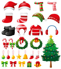 Christmas set with ornaments and clothes