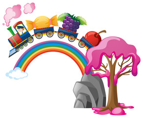 Train ride with candy and fruits