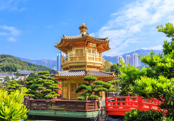 Golden pavilion of absolute perfection in Nan Lian Garden in Chi Lin Nunnery, Hong Kong, China