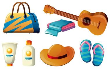 Summer set with handbag and sunscreen