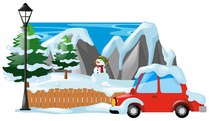 Winter scene with snowman and car