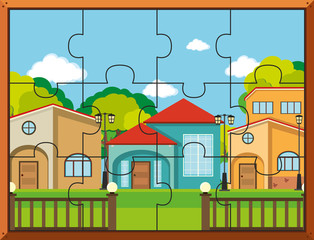 Jigsaw puzzle pieces for houses in village