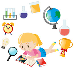 Girl reading book and different object for school