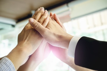 Hands of group business people of Diverse Hands Together Joining concept and group support teamwork cooperation concept.success startup business teamwork.Teamwork Togetherness Collaboration Concept