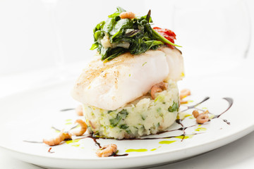 Restaurant dish cole fish mashed potatoes