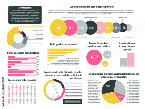 Flat Vector Illustration With Business Charts Modern Infographic