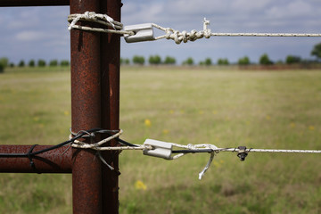 Farming: fragment of professionally installed electric fence, close up
