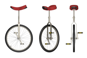 Photo sur Aluminium Velo unicycle views isolated on white 3d rendering