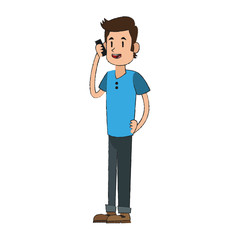 man using a smartphone cartoon icon over white background. vector illustration