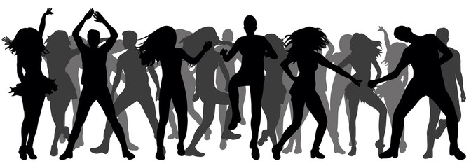 Vector, ilustration, silhouette of dancing people, crowd dancing, disco