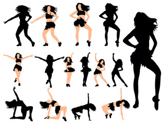 silhouette of a sexy girl dancing collection