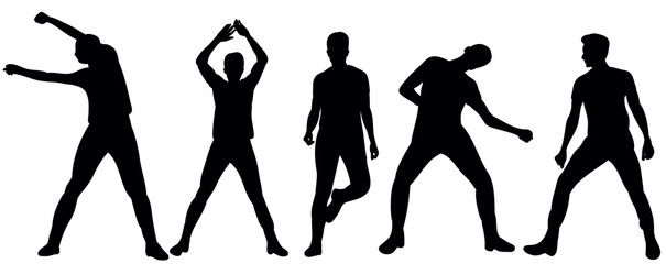 Vector  silhouette of a beautifully dancing man, collection