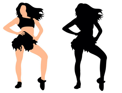 Vector, illustration, silhouette of dancing girl, two
