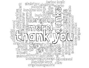 Danke in vielen sprachen schwarz/weiß