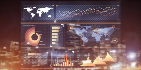 Financial consulting and analytics concept with infographs on sc