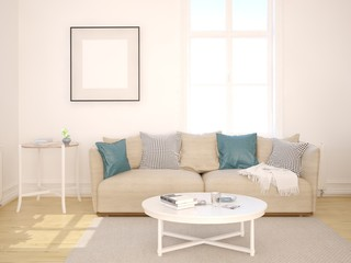 Mock up a living room in Scandinavian style with a classic sofa.