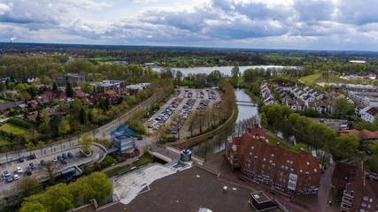 Nordhorn Vechte-Arkaden Luftbild  zur Vechte und zum Parkplatz Neumarkt